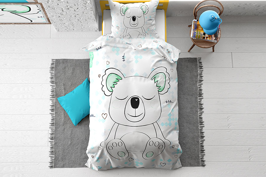 Dekbedovertrek Sleepy Koala White 1